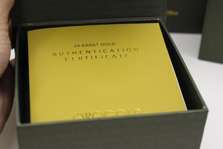 OROGOLD Certificate of Authentication 24 Carat Gold