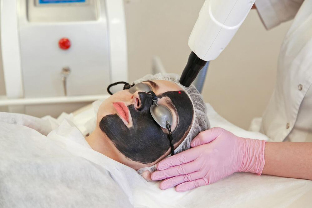 Patient undergoing laser skin lightening