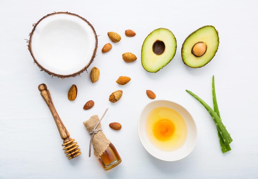 Assorted ingredients for DIY remedies