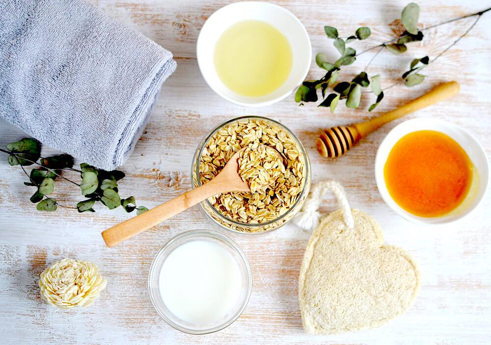 Flat lay of natural ingredients for DIY face mask