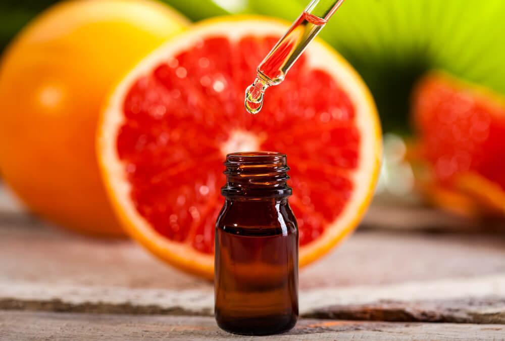 Fruit extract in bottle with dropper