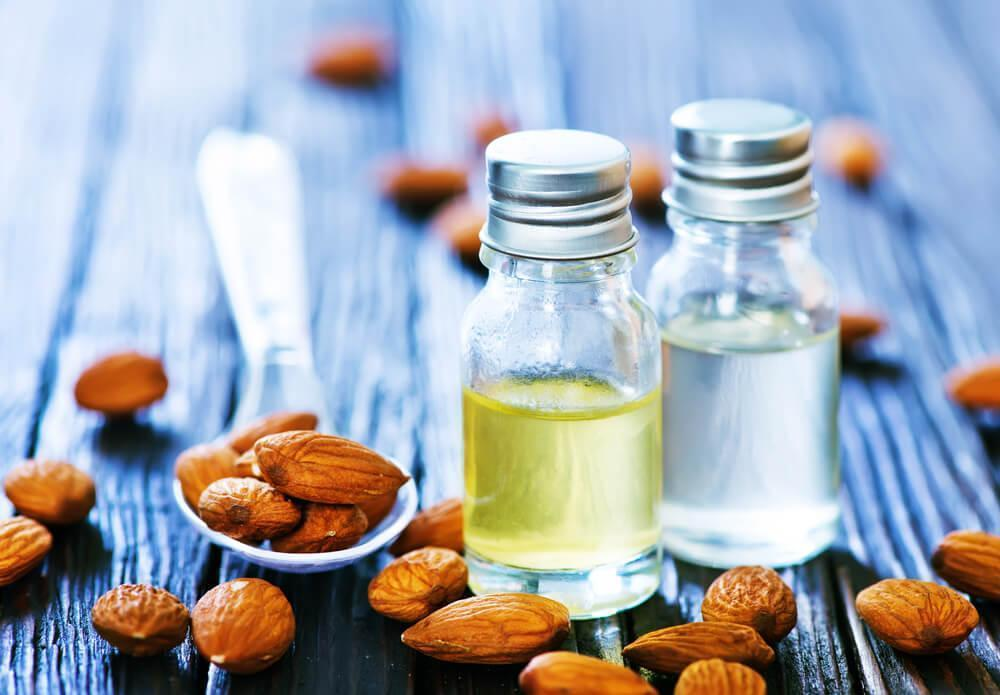 almond oil in bottles