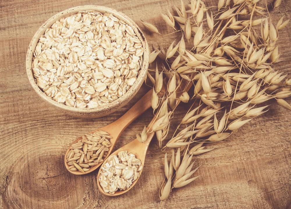 Oatmeal kernels on table